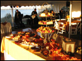 off site wedding table decorated with colorful autumn leaves