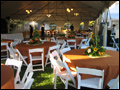 long island catered wedding in a chandelier lit tent