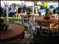 long island catered outdoor wedding dinner tables with sunflower centerpeices