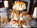 vegetable crudites served in mini French baguette bowls at a Long Island graduation party