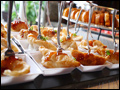 Asian style dumplings served at a catered graduation party