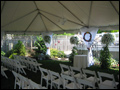 tent decorated for a wedding ceremony