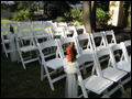 back yard decorated for a wedding