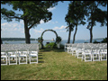 off premise wedding long island white chairs set up for the ceremony