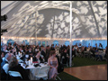 wedding tent with dance floor and specialty lighting