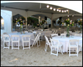 long island wedding caterer has set up everything for a beach wedding