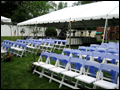 wedding ceremony setup in white and blue